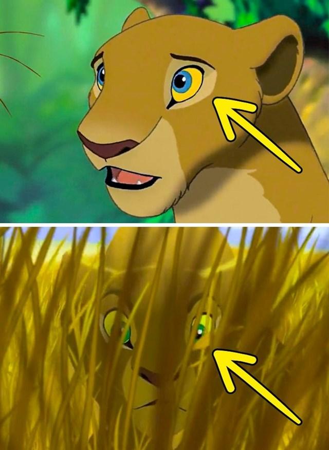 Kralj lavova: Nala u jednoj sceni ima plave oči, u drugoj zelene.