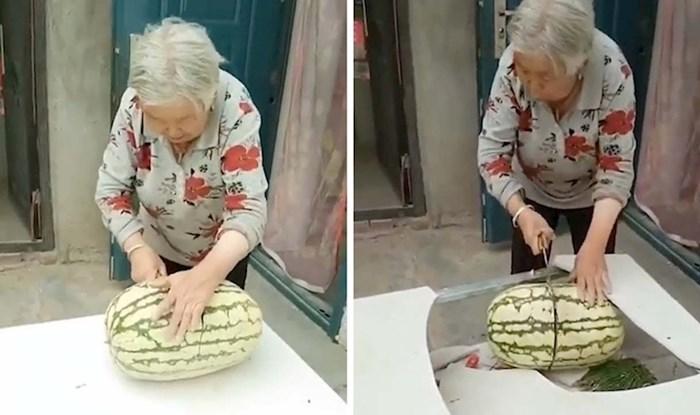 VIDEO Baka je pokušavala izrezati lubenicu, a onda joj se dogodila mala nezgoda kojom je nasmijala internet