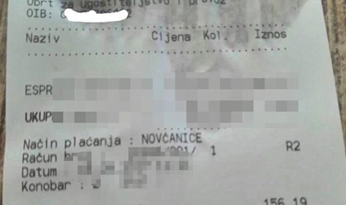 Čovjek je doživio šok kad je vidio račun koji mu je konobar donio