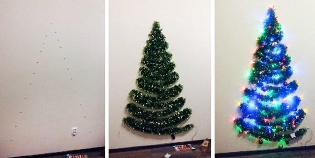 Kako okititi božićno drvce ako nemaš dovoljno mjesta u sobi (ili ako uopće ni nemaš drvce)...