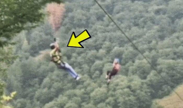 Djevojka je na zipliningu zapela na pola puta, pogledajte kako ju je ovaj lik spasio