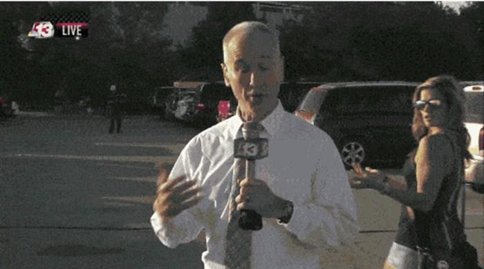 Reporter nije ni primijetio što se iza njega događa, voditeljica se počela smijati