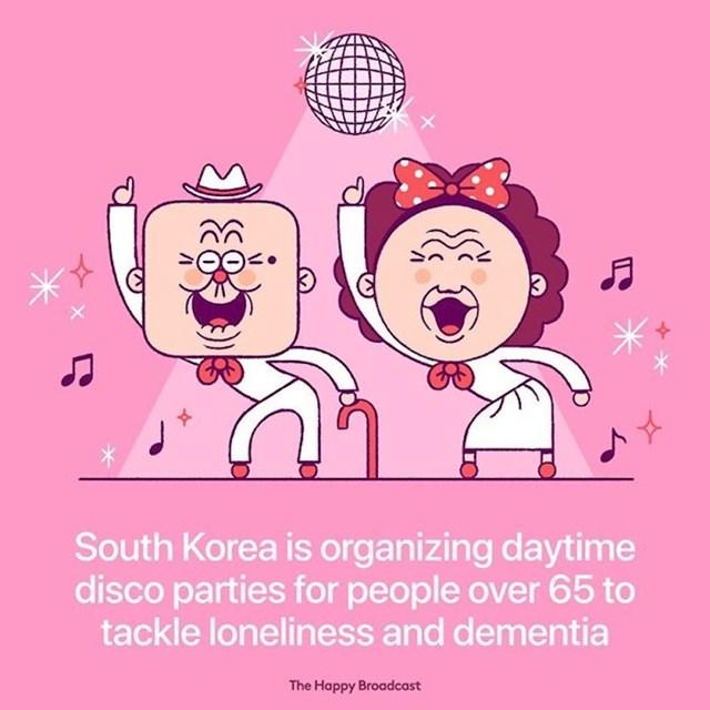 Južna Koreja organizira disco partije za ljude iznad 65 godina, kako bi prevenirali usamljenost i demenciju kod starijih ljudi.