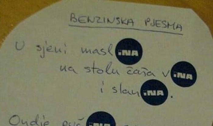 """Pjesništvo na hrvatski način: Netko je napisao """"benzinsku pjesmu"""" u kojoj se sve vrti oko Ine"""