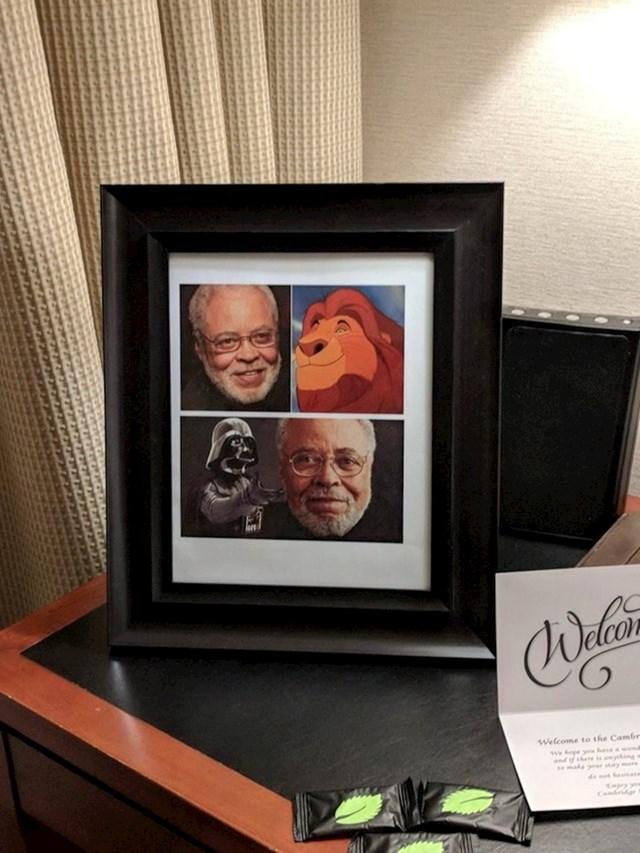 """""""U šali sam tijekom online rezervacije zatražio da u mojoj hotelskoj sobi bude slika Jamesa Earla Jonesa. Stvarno su mi ispunili želju!"""""""