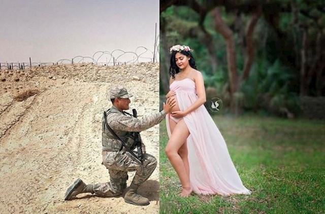 Jedna žena je zamolila fotografa da kombinira dvije slike - fotografiju njenog muža koji je bio na vojnoj misiji i svoju fotku s trudničkim trbuhom.