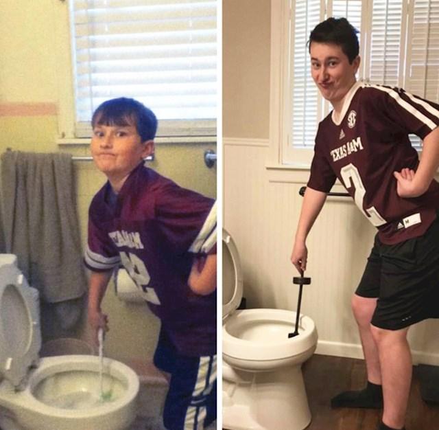 """""""Slikala sam malog brata kako čisti WC, 7 godina kasnije smo napravili istu fotku."""""""