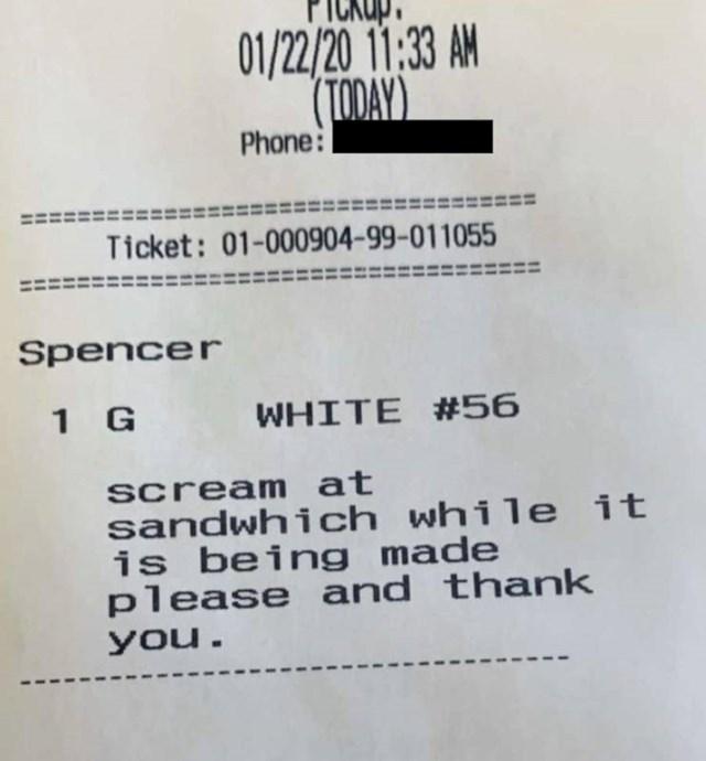 "Na njoj je pisalo: ""Molim Vas derite se na sendvič dok ga pravite, hvala."""