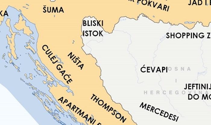 Razočarani Slavonac je napravio kartu Hrvatske koja će vas nasmijati opisima regija