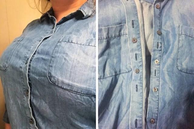Ova košulja ima dodatne gumbiće zbog kojih ne postoji šansa da vam se napravi rupa i da vam drugi ljudi gledajući sa strane vide grudnjak.