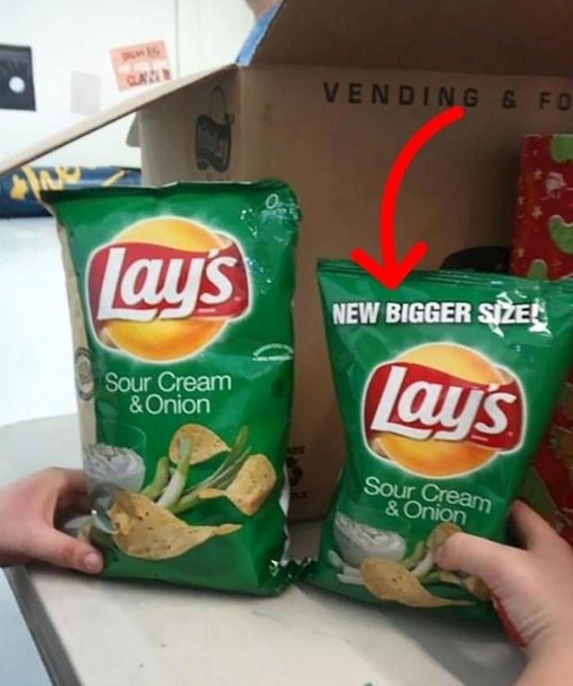 Novo veliko pakiranje čipsa manje je od običnog. Krasno.