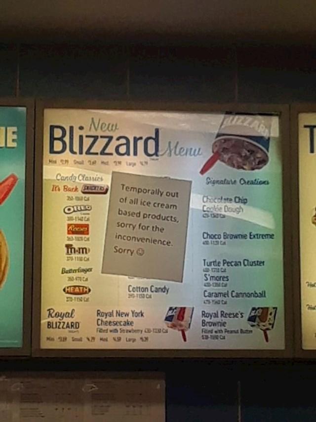 Ono kad djecu odvedeš na sladoled pa te na blagajni dočeka obavijest da trenutno baš to nemaju...