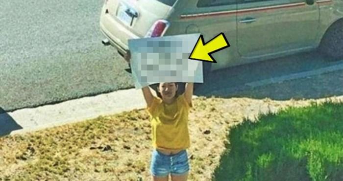 Djevojka se pojavila ispred dečkove kuće, u rukama je držala poruku koju je morao slikati