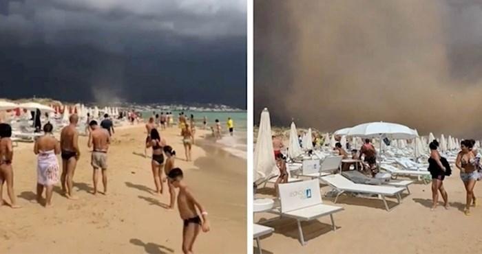 VIDEO Nebo iznad plaže se zacrnjelo, a onda je netko snimio šokantnu scenu