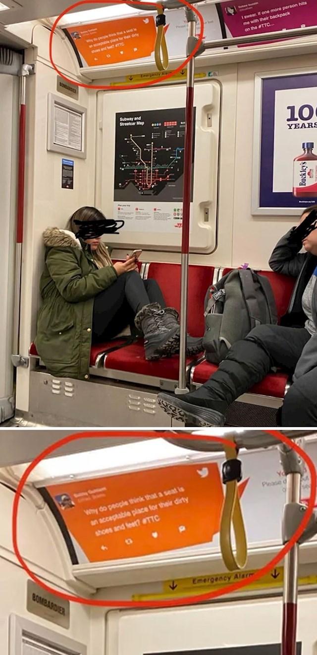Podigla je mokre čizme na sjedalo iako je iznad nje pisalo da to nije prihvatljivo.