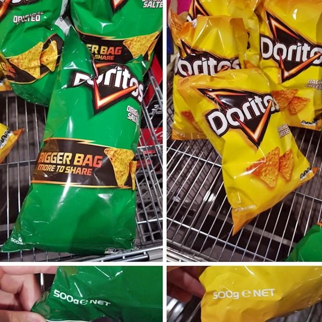 """""""Velike vrećice"""" čipsa jednake su težine kao i obične vrećice."""