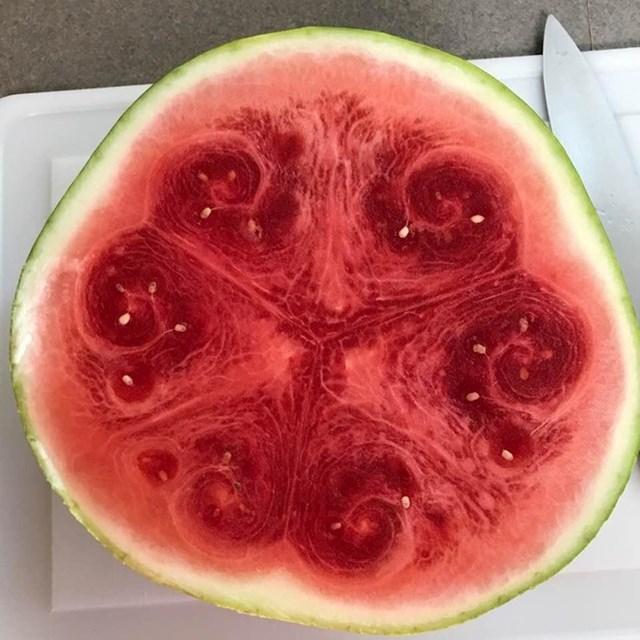 Ova lubenica je unutra bila prečudna.