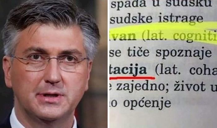 """Netko je provjerio u rječniku što znači Plenkovića """"tvrda kohabitacija"""", ostao je šokiran"""
