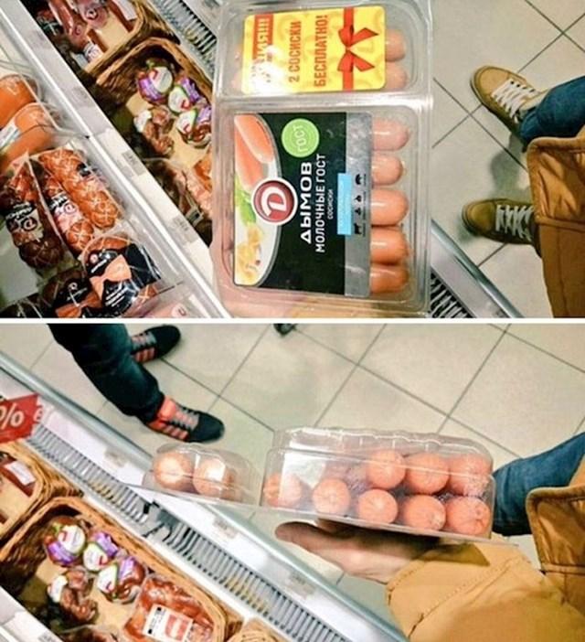 Prodaja kobasica u Rusiji - kupiš veliko pakiranje i dobiješ dvije kobasice besplatno. Jeste li primijetili nešto čudno? ;)