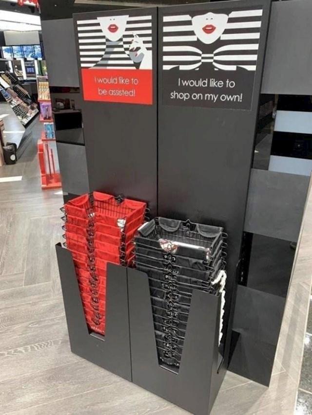 Ovaj supermarket ima košare različitih boja kako bi zaposlenici znali žele li pojedini kupci njihovu pomoć ili ne.