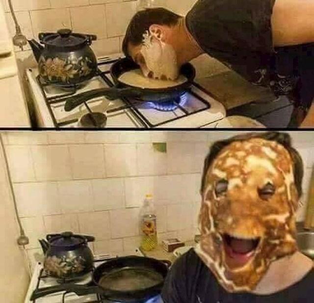 Palačinka se brzo može pretvoriti u čudnu masku za lice.
