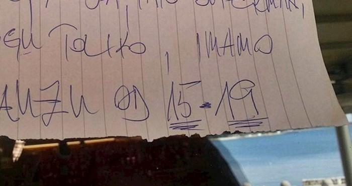 Konobar je sebi uzeo pauzu od 4 sata, gosti se nisu ljutili kad su vidjeli što je napisao