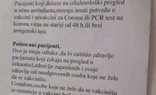 Obavijest koju je oftalmolog iz Srbije zalijepio na ulaz u ordinaciju postala je hit, morate vidjeti