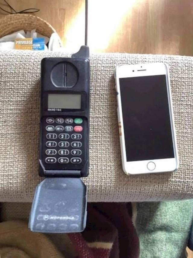 15. Mobitel koji je moj tata koristio s 20 godina i onaj koji ja koristim