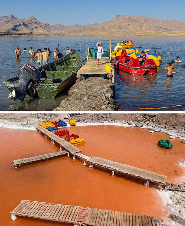 11. Jezero Urmia poprimilo je crvenu boju i očekuje se da će se isušiti.