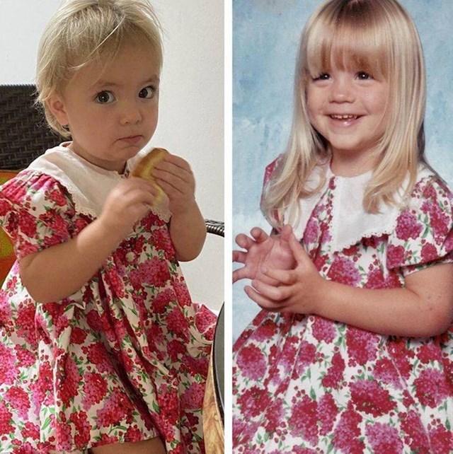 """""""Moja kćerka i ja kao klinka u istoj haljinici""""."""