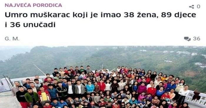 Čovjek je jednostavnim komentarom na vijest o smrti čovjeka koji je imao 38 žena nasmijao internet