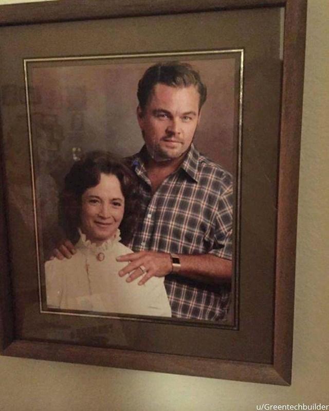 """8. """"Moja baka malo je preuredila fotku sa svojeg vjenčanja s pokojnim djedom. Preko njegovog (ne baš tako lijepog) lica zalijepila je Leonarda DiCaprija!""""😂"""