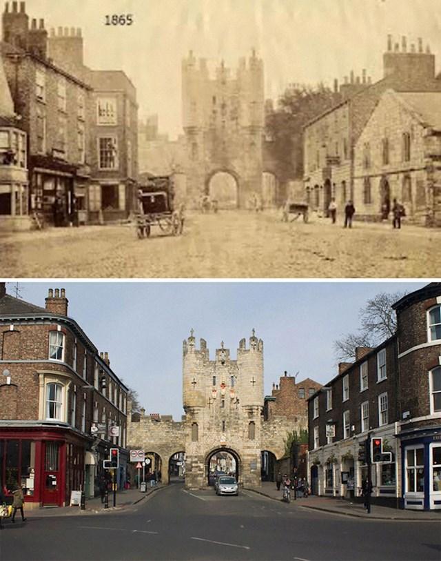 12. Glavni ulaz u engleski grad York, snimljen 1865. i 2015.