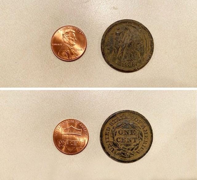 13. Novčić iz 1847. i današnji