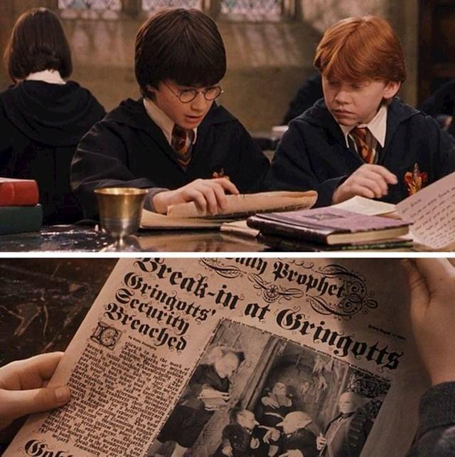 2. U Harryju Potteru i Kamenu mudraca, Harry kaže Ronu da je provaljeno u trezor 713. Ali članak u novinama uopće ne spominje broj trezora.🧐