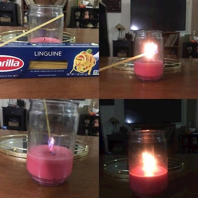 11.Pomoću špageta možete upaliti svijeću koju je teško upaliti običnim upaljačem.