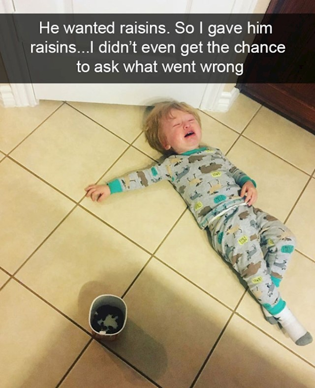 17. Htio je grožđice, pa sam mu ih dao. Nisam niti dobio priliku pitati što je pošlo po zlu...