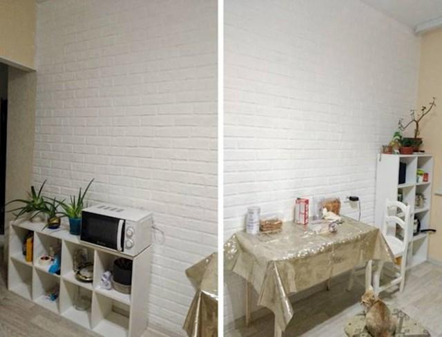6. Sama je napravila ovaj lažni zid od cigle.
