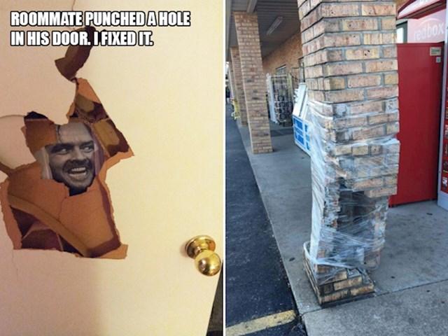 3. Cimer mu je udario zid i napravio rupu, a on ju je popravio.🤣