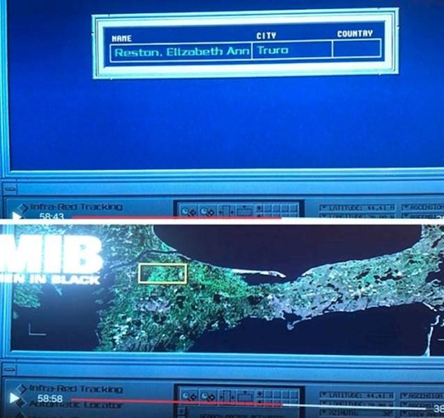 10. U Ljudima u crnom, K traži svoju ženu u gradu Cape Cod, ali mapa prikazuje totalno drugo mjesto.