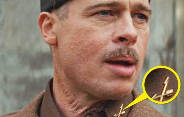 5. Brad Pitt u Nemilosrdnim gadovima nosi oznaku američkih specijalnih snaga na ovratniku. Specijalne snage američke vojske stvorene su tek 1952.,dakle oko 7 godina nakon završetka Drugoga svjetskog rata, tijekom kojeg se odvija radnja filma.