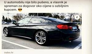 U oglasu se pohvalio da se u njegovom autu nije pušilo, jedan Samir je rasturio komentarom