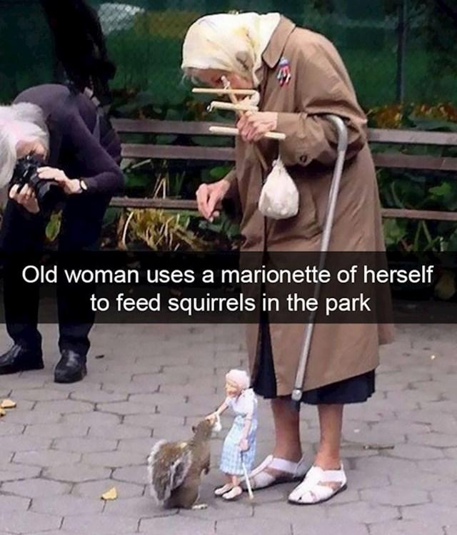 1. Starica koja koristi svoju marionetu kako bi nahranila vjeverice u parku