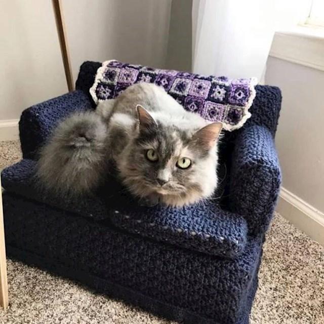 """9. """"Moja punica zna koliko obožavamo svoju mačku. Zato joj je napravila vlastitu sofu!"""""""