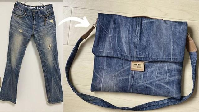 5. Pretvorila je stare traperice u modernu torbicu