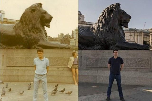 """""""Moj tata i na istom mjestu na Trafalgarskom trgu. Uz 40 godina razlike."""""""