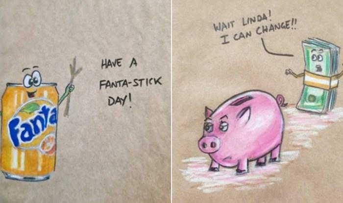 Kreativni tata je osvojio internet simpatičnim stripovima koje crta kćerkama na vrećice za užinu
