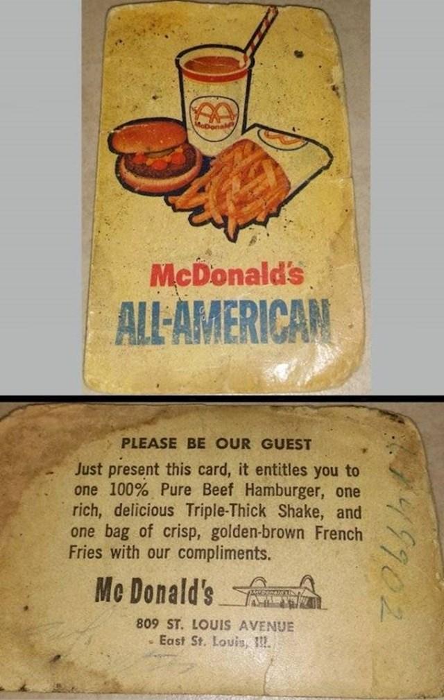 """16. """"Ovaj stari McDonald-ov kupon našao sam među stvarima svoga djeda."""""""