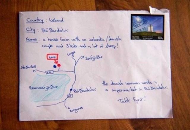 4. Na Islandu možete nacrtati malenu mapu s uputama za poštara, umjesto da napišete točnu adresu, i vaše pismo ili paket svejedno će stići na odredište.