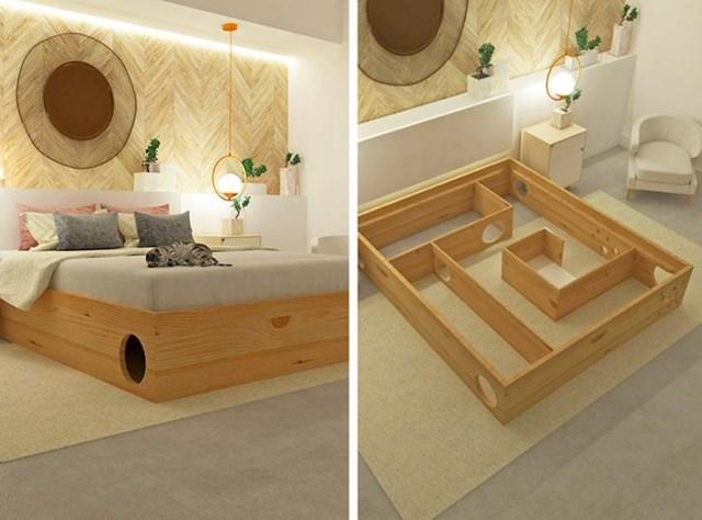 13. Krevet s labirintom koji će zabavljati vašu mačku dok vi spavate...